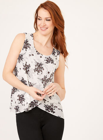 Layered Sleeveless Floral Print Top, White, hi-res