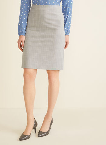Tartan Print Straight Skirt, Grey,  skirt, straight, tartan, lined, spring summer 2020