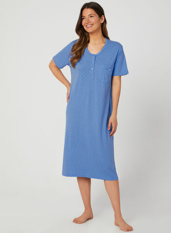 Bellina - Cotton Nightgown, Blue, hi-res,  Cotton, short sleeves, spring 2019, summer 2019