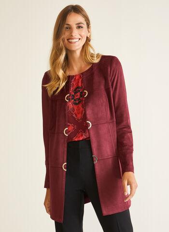 Veste redingote en faux suède, Rouge,  veste, redingote, faux suède, manches longues, métal, automne hiver 2020