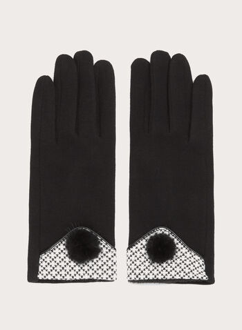 Mink Pompom Knit Gloves, Black, hi-res