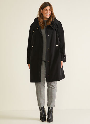 Hooded Button Front Coat, Black,  coat, winter coat, hood, zipper, button, a-line, flap, synthetic down, fall winter 2020