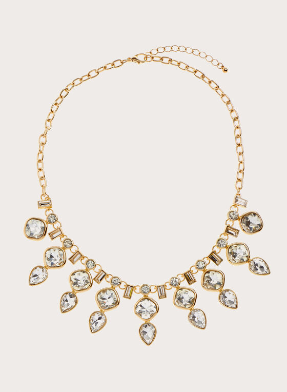 Teardrop Crystal Necklace , Gold, hi-res