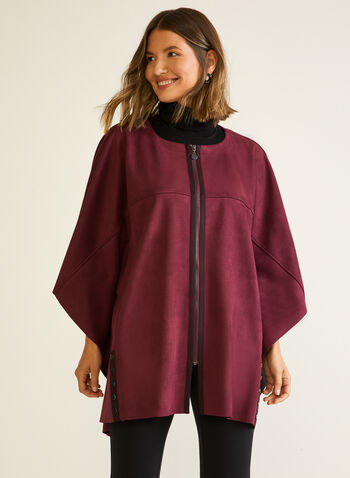 Faux Suede Zip Front Cape, Red,  cape, faux leather, suede, zip, 3/4 sleeves, rivet, fall winter 2020