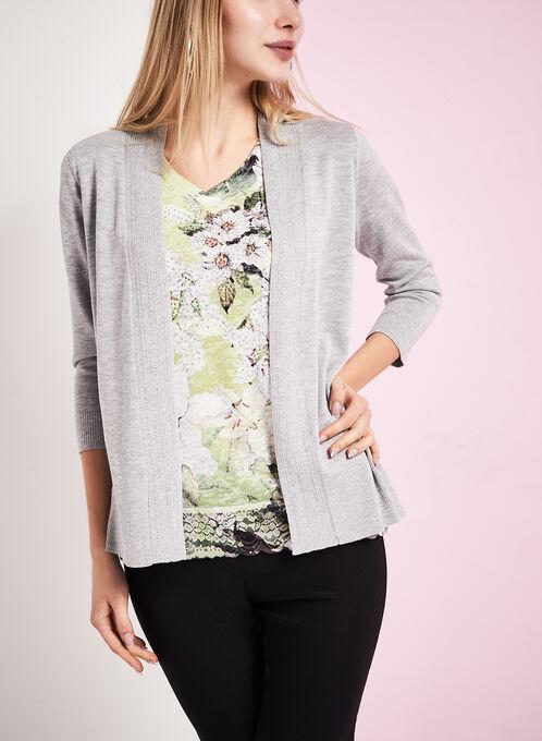 3/4 Sleeve Pointelle Knit Cardigan, Grey, hi-res