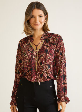 Paisley Print Tunic Blouse, Black,  top, blouse, tunic, long sleeves, paisley, v-neck, fall winter 2020