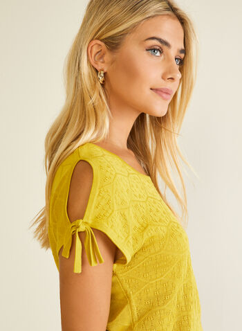 Knot Detail Pointelle Sweater, Yellow,  spring summer 2020, sweater, scoop neck, pointelle, drawstring detail, cold shoulder, cutout, knot detail, light