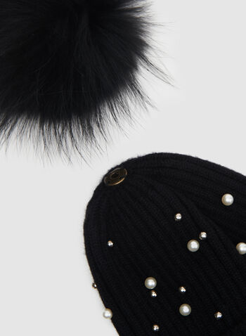 Removable Fur Pompom Toque, Black, hi-res