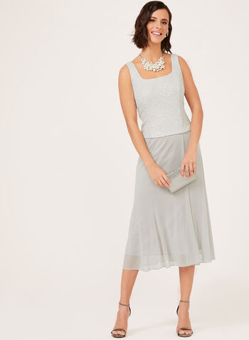Chiffon Skirt Popover Dress & Jacket Set, Silver, hi-res
