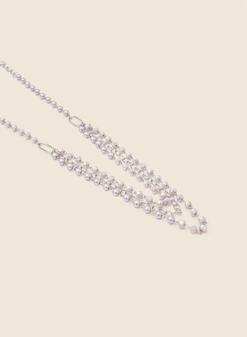Tiered Chain & Pearl Necklace, Purple,  jewellery, accessories, necklace, pearl, chain, link, tiered, multi, row, spring summer 2021