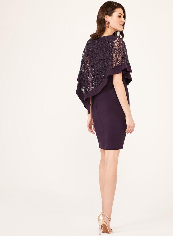 Sequin Lace Poncho Dress, Purple, hi-res