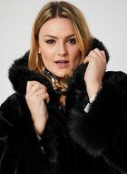 Nuage - Hooded Faux Fur Coat, Black, hi-res
