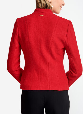 Zipper Trim Open Front Wool Jacket, Red, hi-res