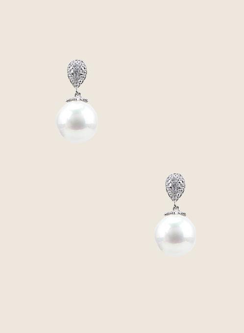 Boucles d'oreilles à perle, Blanc cassé