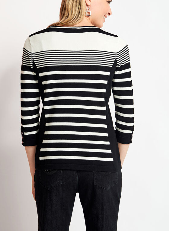 ¾ Sleeve Crew Neck Sweater, Black, hi-res