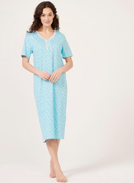 Chemise de nuit motif fantaisie, Bleu, hi-res