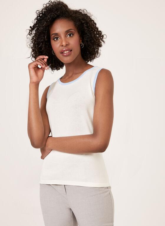 Débardeur tricoté à liserés contrastants, Blanc, hi-res