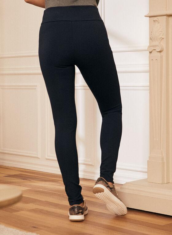 Zipper Detail Pull On Leggings, Blue