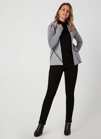 Open Front Knit Cardigan, Black, hi-res,  cardigan, knit, open front, long sleeves, ribbed, fall 2019, winter 2019