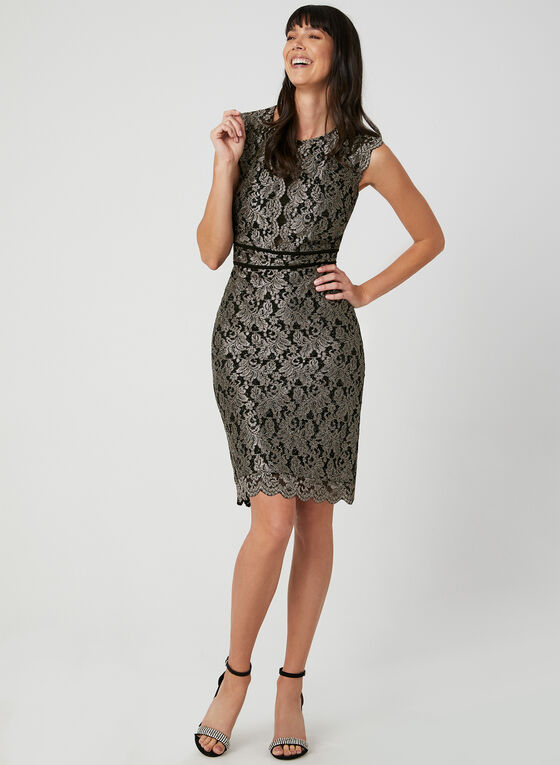 Glitter Lace Mesh Dress, Black, hi-res