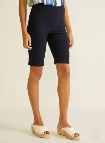Stud Detail Bermuda Shorts, Blue,  bermuda, shorts, pull-on, studs, spring summer 2020
