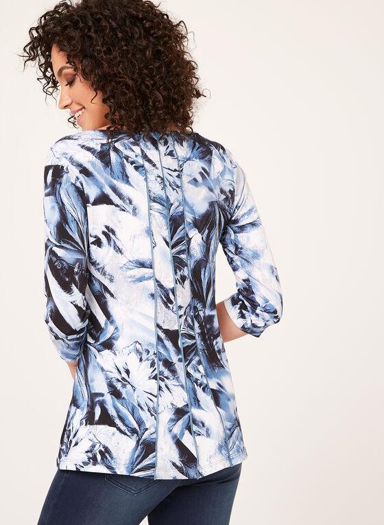 Abstract Paisley Floral Mix Print Blouse, Blue, hi-res