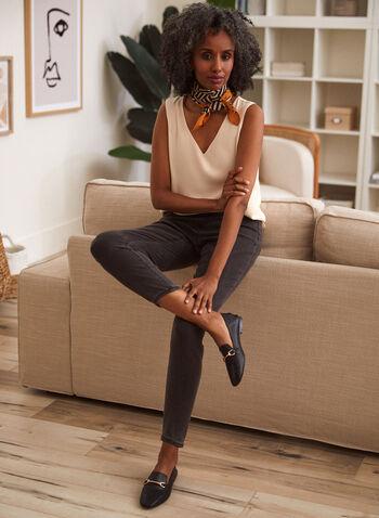 Sleeveless V-Neck Crepe Blouse, White,  fall 2021, basic, essential, sleeveless, v neck, crepe, layer, blouse, top, shirt, rounded hem