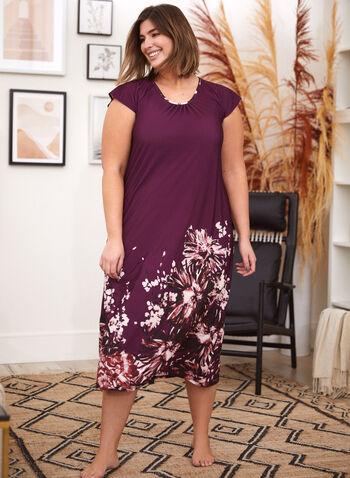 Floral Print Nightgown, Purple,  fall 2021, made in canada, sleepwear, nightgown, night dress, sleep dress, floral print, flowers, pattern, pleated, neckline, scoop neckline, short sleeves, comfy
