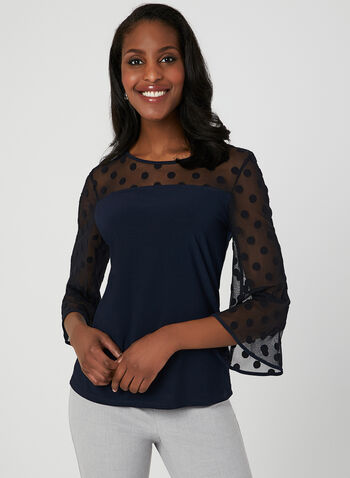 Blouse en maille filet à pois, Bleu, hi-res