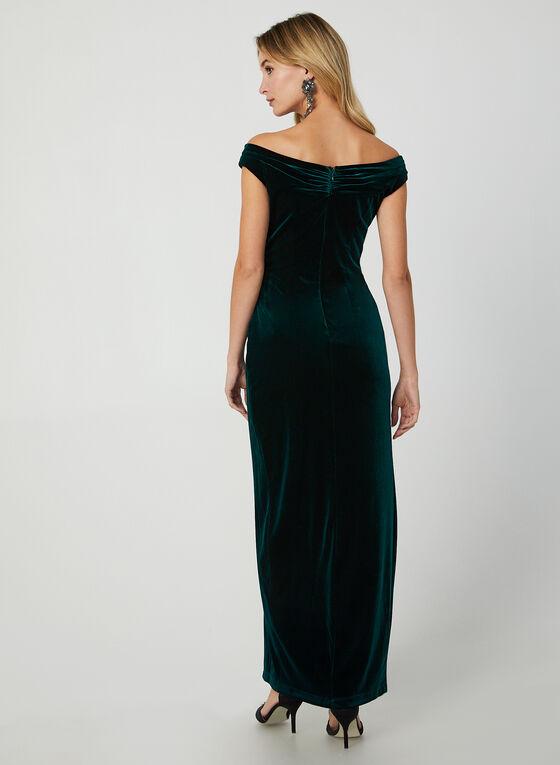 V-Neck Velvet Gown, Green