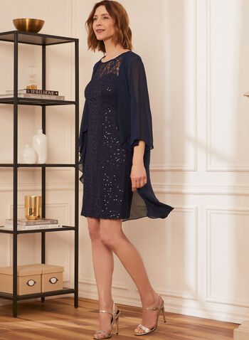 Lace Dress With Cover-Up, Blue,  cocktail dress, sleeveless, lace, sequin, chiffon, cover-up, fall winter 2020