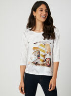 T-shirt motif scooter et détails strass, Blanc