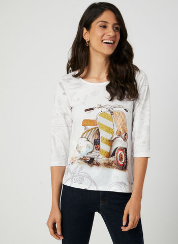 Scooter Print ¾ Sleeve T-Shirt, White,  t-shirt, 3/4 sleeves, scooter print, rhinestones, burnout, fall 2019, winter 2019