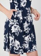 Floral Print Elbow Sleeve Dress, Blue