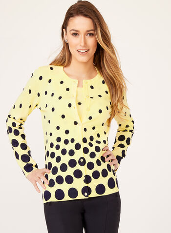 Dot Print Cardigan , Blue, hi-res