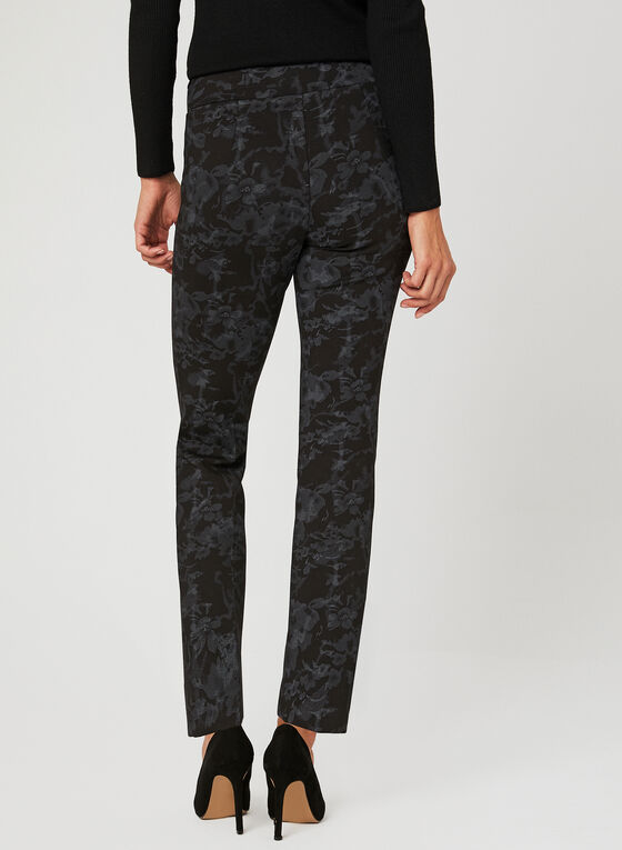 Modern Fit Floral Print Pants, Grey, hi-res