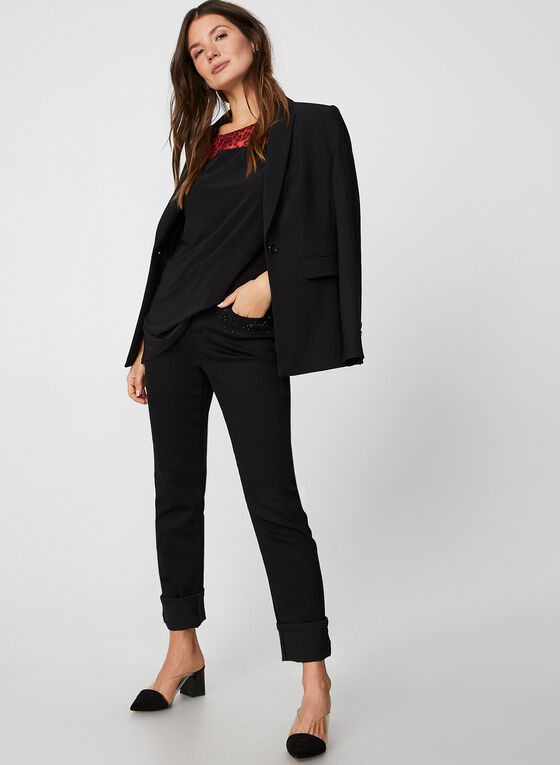 Tunique à détails animaliers en jersey, Noir
