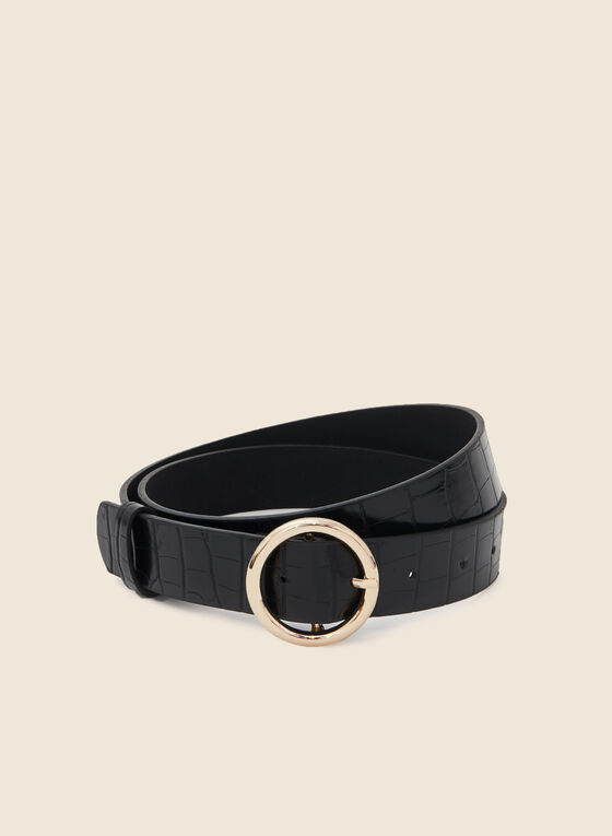 Faux Crocodile Belt, Black
