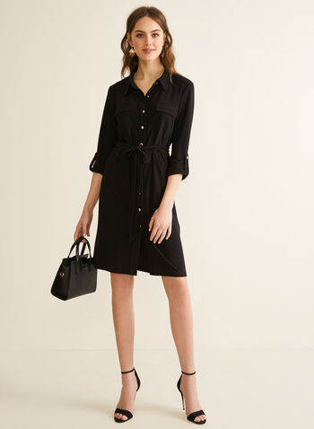 Jersey Shirt Dress, Black,  spring summer 2020, 3/4 sleeves, jersey fabric, belt at waist, pointed collar
