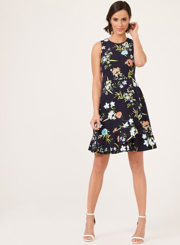 Jessica Howard – Fit & Flare Floral Print Dress, Blue, hi-res