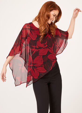 Asymmetric Poncho Blouse, Black, hi-res