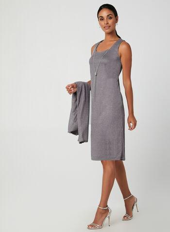 Metallic Dress & Cardigan Set, Silver, hi-res,  fall winter 2019, metallic fabric, sheath dress, cardigan, long sleeve