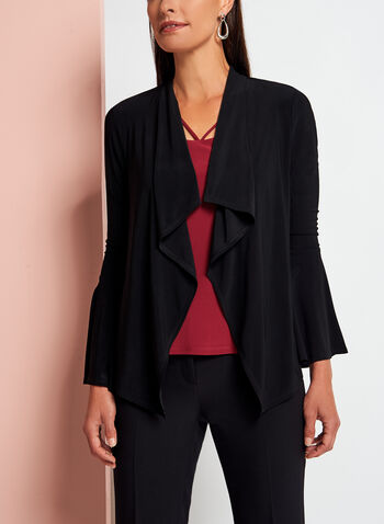 Cascade Front Bell Sleeve Cardigan, Black, hi-res
