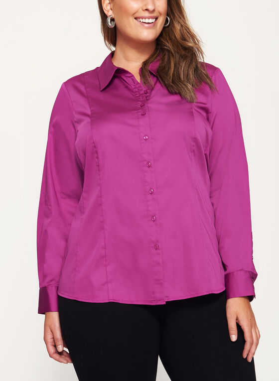 Cotton Sateen Button Down Shirt, Pink, hi-res