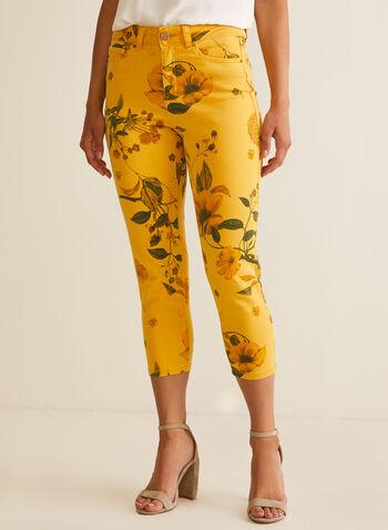 Capri en denim à fleurs, Jaune,  capri, fleurs, poches, jambe étroite, denim, printemps été 2020
