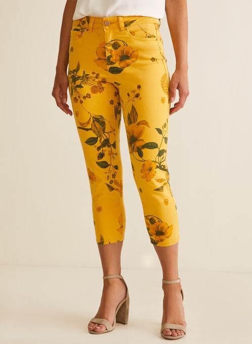 Floral Denim Capri Pants, Yellow