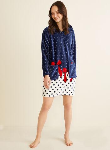 Karmilla Lingerie - Chemise de nuit en polaire à pois, Bleu,  chemise de nuit, pois, col montant, polaire, nœuds, boutons-pression, poches, automne hiver 2019