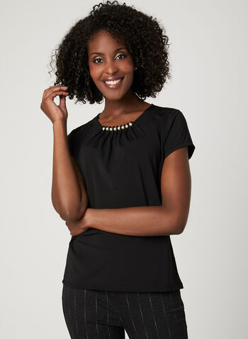 Pearl Embellished T-Shirt, Black, hi-res