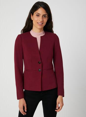 Blazer boutonné à épaulettes, Rouge, hi-res,  blazer, col rond, boutonné, manches longues, point de Rome, automne hiver 2019
