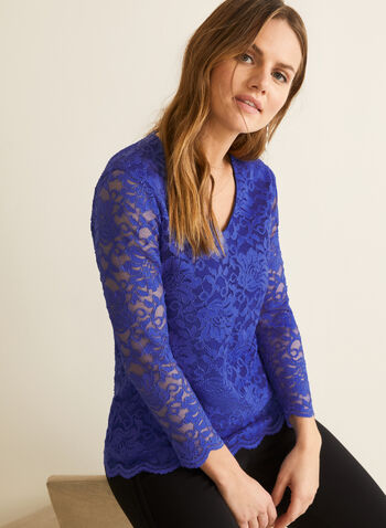 ¾ Sleeve Lace Top, Blue,  canada, lace, lace top, v-neck, 3/4 sleeves, spring top, spring 2020, summer 2020